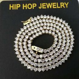 2019 gold-diamant-tennis-armbänder Hip Hop Diamanten Tennis Kette Halsketten für Männer Frauen Luxus kubanischen Ketten Armband 18 Karat vergoldet 18 Zoll 3 mm Gold Silber Schmuck Geschenk günstig gold-diamant-tennis-armbänder