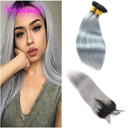 Spitzenverschluss grau online-Peruanisches unverarbeitetes Menschenhaar 3 Bündel mit 4X4 Spitze-Schließung 1B / graues gerades Jungfrau-Haar 1B Grau zwei Töne färben 10-26inch
