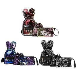 7901c25c8f 3pcs / set Coniglio orecchie paillettes zaino ragazze glitter bling borsa  satchel sacchetto di scuola borsa a tracolla delle donne tote borsa da  viaggio ...