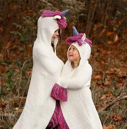 bb3c8fdb991 Unicorn Blanket Hooded For Girls Wearable Crochet Knit Throw Magic Hoodie  Cloak unicorn hat cape