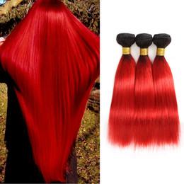 feixes tecer vermelhos quentes Desconto Weave Humano Tecer Cabelo Humano 3 Bundles Pré-Coloridas 2 Tom Vermelho Quente Brasileiro Feixes de Cabelo Comprimento Mista