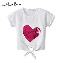 2019 criança bandagem LarLarBoom Crianças Tops de Verão de Manga Curta Bebê Roupa Das Meninas Coração Lantejoulas Bandagem T-shirt 2019 New Casual Girl T-shirts criança bandagem barato