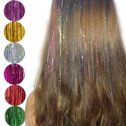 2019 moda destaques cabelo Moda Sexy 8 Cores Cabelo Ouropel Faísca Glitter Extensões Destaques Fios de cabelo Falso Acessórios Do Partido moda destaques cabelo barato