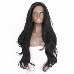Perruques de cheveux longs réels pour les femmes en Ligne-Real Pictures 26 pouces Noir Couleur Longue Vague Naturelle Cheveux Résistant À La Chaleur Fibre 180% Densité Sans Colle Synthétique Avant de Lacet Perruques pour Femmes