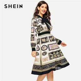 SHEIN Multicolor Laço Pescoço Manga Longa Cachecol Imprimir Fit E Flare Vestido Senhora Do Escritório Elegante Workwear Na Altura Do Joelho Vestidos de