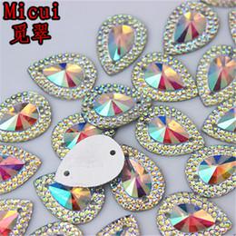 Perle nähen online-13 * 18mm 100 teile / los AB Crystal Superior Taiwan Acryl Flache Rückseite Form Acryl Strass Nähen Auf 2 Loch perlen ZZ36