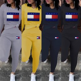 polyester t shirt wholesale Promo Codes - Brand Designer Women T-shirt Leggings Two Piece Set Tracksuit long Sleeve Tee Top Pant Sportswear Outfits Wholesale