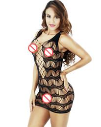 2019 lunghi abiti di cablaggio neri Intimo sexy da donna trasparente trasparente con intimo sexy a rete di pesce intimo erotico intimo a rete sexy di tentazione DHL