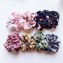 Accessori chiffoni online-Floreale Flamingo Stampa Corde elastiche Corde per capelli Cordoncini per ragazze da donna Accessori per capelli in chiffon Corda per capelli Coda di cavallo Corda per capelli