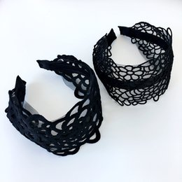 flowered headband diamonds Coupons - Korea Flowers Hand Made Embroidery Black Retro Hair Accessories Diamond Hair Band Bows Flower Crown Headbands For Women 4