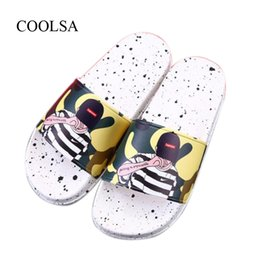 big animal slippers Promo Codes - Women's Summer Flat Home Slippers Fashion Sports Hip Hop Slippers Non-slip PVC Bathroom Sandals Women Slides Big Size11