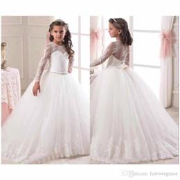 2019 jupe en tulle blanc thé 2019 robes pageant de robe de bal de fille mignonne blanche ivoire avec manches longues première robe de communion dentelle fleur petite robe