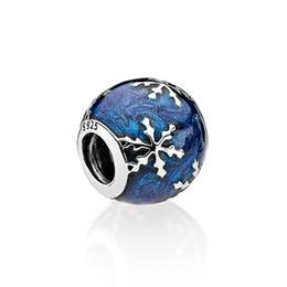 Argentina Auténtico 925 Plata Azul esmalte Charm Accesorios de joyería Granos europeos Caja original para Pandora Pulsera Brazalete Copo de nieve encantos Suministro