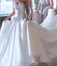 Spille pieghettate abiti da ballo da sposa online-Abiti da sposa cristalli abito da sposa 2019 designer di lusso vestido de novia pieghe pieghettato scintillante abiti da sposa sbalorditivo personalizzato plus size