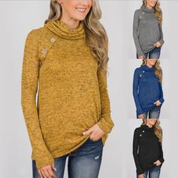 Medias de suéter de punto online-Botón de la mujer suéter 4 colores de manga larga plisada cuello redondo alto sudadera con capucha jersey de punto apretado Tops OOA6038