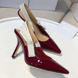 Látex mujer sexy online-Diseñador mujer tacones altos fiesta moda chicas sexy zapatos puntiagudos baile zapatos de boda correas dobles sandalias zapatos de mujer tamaño 35-42