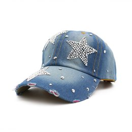 0ef54b5d Chinese 019 New diamond Fashion Denim Baseball Cap Vintage Hip Hop Hat  Spring Summer Woman Casual