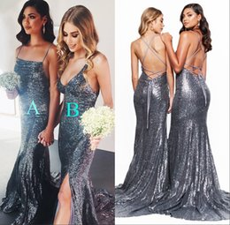 sequined mermaid style prom dress Coupons - Stunning Silver Bridesmaid Dresses 2 Styles Spaghetti Split Crisscross Backless Maid of Honor Dresses Sequined Girls Prom Party Dress BM0941