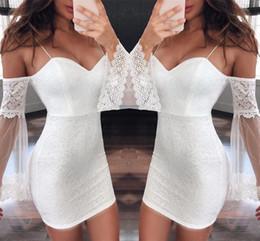 2019 vestidos de clube de renda branca 2019 Pouco Branco Mini Vestido de Festa Curto Ombro Lace Manga Spaghetti Prom Club Vestidos Baratos yl57-2138 desconto vestidos de clube de renda branca