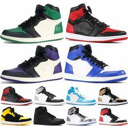 newest db01f 8dad7 Mens 1s Top Pine Green Court Lila Chicago OG 1 Spiel Royal Blue  Basketball-Schuhe Rückwand Sport Sneaker Designer Trainer Größe 5,5-13