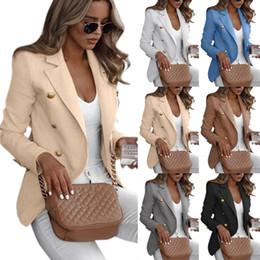 Chaquetas formales para mujer online-De 7 colores S-5XL del tamaño extra grande de las mujeres de cuello Blazer del juego fino de las señoras chaqueta de la capa formal Cardigan 59774414400135