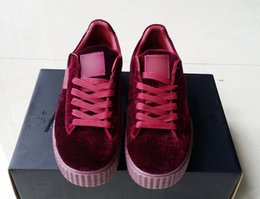 shoe box creepers Promo Codes - Velvet Rihanna x Suede Creepers2019 new Rihanna Creeper Grey Red Black Women Men Fashion cheap Casual Shoes sneakers With Double box