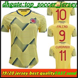 3d9feac2e 2019 Colombia soccer Jersey Colombia Home yellow Soccer shirt 2018  10  JAMES  9 FALCAO  11 CUADRADO Thai away blue Football uniform