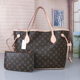 Wholesale Livraison Gratuite Nouvelles Femmes De Mode De Haute Qualité Pu Simple Épaule Sac À Main Deux pièce Kit sac Grand Sac