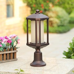 063ddb9108c66 Vintage outdoor art decoration LED Post light Aluminum glass shade pillar  lights outside yard garden antique landscape lighting