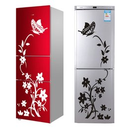 Alta Calidad Creativo Refrigerador Negro Etiqueta Mariposa Patrón Pegatinas de Pared Decoración Del Hogar Cocina Arte de la Pared Mural desde fabricantes