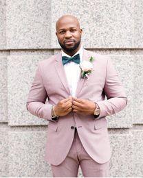 blazers rosas para hombres Rebajas Pink Groom Tuxedos Groomsmen Notch Lapel El mejor traje de hombre de la boda de los hombres de la chaqueta trajes a medida (chaqueta + pantalones)