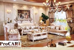 canapé en tissu bleu italien définit les meubles de salon, meubles baroques en bois de style antique du marché de Foshan ? partir de fabricateur