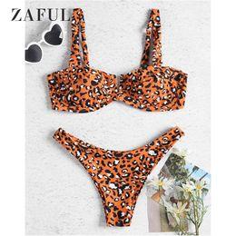 Alça bikini laranja on-line-Zaful underwire leopardo demi biquíni swimsuit mulheres swimwear sexy tiras de cintura baixa biquíni conjunto orange orange tanga maiô