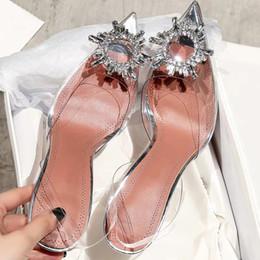 klarer kristall high heel Rabatt Mode Frauen PVC Slingbacks Sandalen Glitzernde Verzierungen Glas Pantoletten Schuhe Kristall Blumen Klar High Heels Hausschuhe