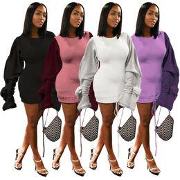 2019 manteaux verts pas cher Femmes mini robes à manches longues ras du cou cordon de serrage cordon manches longues patchwork robe crayon à la mode automne été chemise sexy LJJA3050