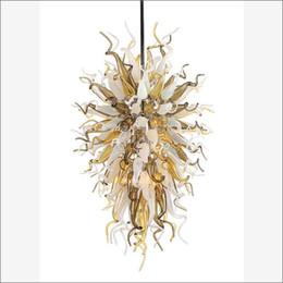 Diseños de habitación superior online-Lámparas de araña de cristal de murano sopladas decorativas únicas Diseño superior Lámpara de cristal de vidrio soplado coloreado a mano para sala de estar