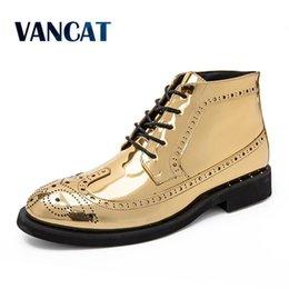 Zapatos cómodos de negocios informales online-Vancat Nuevo otoño invierno vestido de hombre Botas de hombre de negocios Botas de cuero Zapatos de hombre Cómodos botines al aire libre Zapatos casuales