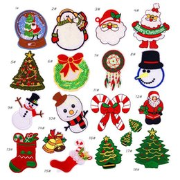 Remendos bordados do natal on-line-Patch estilo de natal para roupas de ferro em patches bordados costurar applique patch de tecido bonito crachá vestuário diy acessórios de vestuário patches