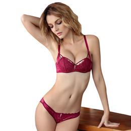 73a27abfab0ea France romantic Lace bra set Plunge Thin cup Lingerie set Luxury  Perspective 1 2 Cup Bras Underwear Set For Small chest bras france for sale