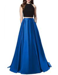 Royal Blue Jewel Neck Due pezzi Prom Dresses Appliques Perline Abiti da sera convenzionali Abiti da festa Robe De Soiree Abiti per occasioni speciali da taffettà senza bretelle abito bordeaux fornitori