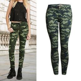 baixa cintura jeans apertado Desconto 2019 mulheres plus-size roupas de baixo de cintura apertada calças elásticas camuflar lápis calças jeans Feminino moda estilo militar de jeans de algodão magro