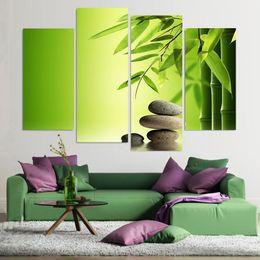 pintura de bambú enmarcada Rebajas HD Impreso Moderno Lienzo de Pintura de Pared 4 Panel Zen Piedras de Bambú Arte de Agua Modular Marco del Cartel Cuadros Decoración Del Hogar Sala de estar