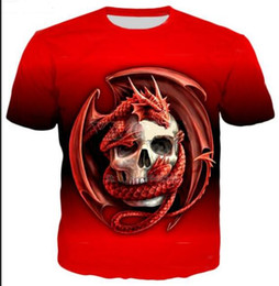 Magliette del cranio del drago online-New Fashion Mens / Womans Estate Style Drago e Teschio T-Shirt 3D Stampato Unisex Abbigliamento di Buona Qualità O Collo Tee Shirts ZLQ032