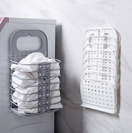 armazenamento de brinquedos de parede Desconto Cestas de lavanderia Montado Na Parede Lavanderia Sacos Dobráveis Brinquedos Caixa De Armazenamento De Roupas Sujas Organizador Sacos De Lavagem Cinza Branco Opcional YW3079