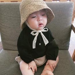 cappello di berretto da maglia della neonata Sconti Cappello di paglia per bambini estate protezione solare in Corea merletto sole uomini e donne bambino cappello pescatore regolabile