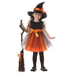 Disfraces de puntos online-Vestido estampado de Halloween para niñas Bruja juega Cosplay Disfraz Vestido de malla de encaje estampado para niños Ropa de diseñador para niños Sombrero mágico Trajes para niñas 2-15T 04