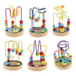 2019 abacus de contas de madeira aby Classificação da criança, aninhamento Empilhamento colorido dos desenhos animados de madeira Maze Maze Roller Coaster Activity Cube Educational Abacus Beads Circle To ... desconto abacus de contas de madeira