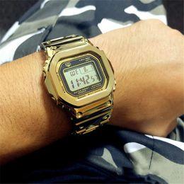 2019 choque de ouro 2019 New arrivaly aço Inoxidável choque estilo g Relógios à prova d 'água MovementMens Relógio de Ouro Multifunções LED Digital relógios de grife desconto choque de ouro