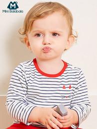 abra o ombro camisetas Desconto Mini Balabala Bebê Gráfico Stripe Tops T-shirt Camisa de Manga Longa Infantil Do Bebê Recém-nascido Das Meninas Dos Meninos Roupas de Roupas Ombro Aberto