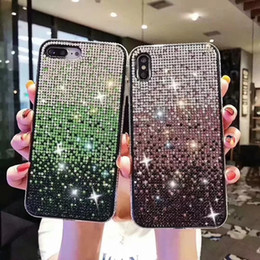 Glitter di gradiente di caso di iphone online-Casi di pendenza del diamante di Bling della scintilla TPU per Iphone 11 Pro XS Max XR XS X 8 7 6 Plus cristallo di scintillio di lusso Shinny Colorful copertura del telefono